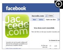 J'accede - formulaire de don sur Facebook